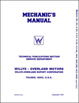 Mechanic's Manual - Models CJ-2A, 2W Jeepster, 4cyl Stwg & Truck