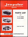 Parts List with F4-134 Engine & V6-225 Engine - Jeepster Series July 1969