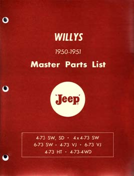 Master Parts List - Willys 1950-1951