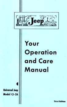 Owners Manual -  Jeep Model CJ-2A & CJ3A